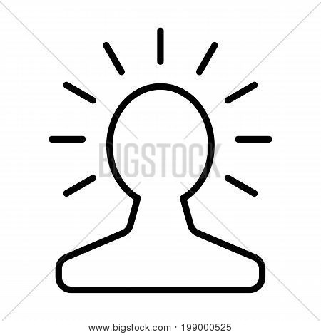 New bright idea in human head line icon. Thinking about success solution.  Lightbulb creativity concept. Vector.
