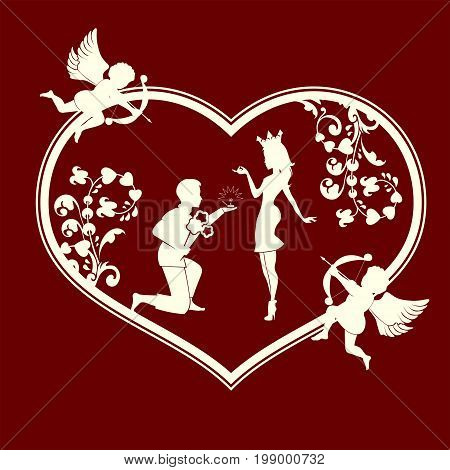 Silhouette of the heart with a loving couple, a beggar and a princess, ornament and cupids