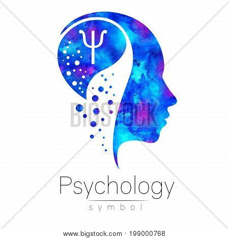 Modern head sign of Psychology. Profile Human. Letter Psi. Creative style. Blue watercolor color isolated on white background.