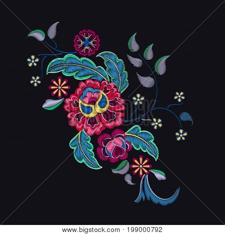 Vector Illustration of Embroidery Pattern for Design, Background. Floral Ornament for Textile. Fancywork Texture Template