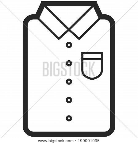 Vector Icon of a classic shirt for men or woman in line art. Pixel perfect. Bussiness and office look. For shops and stores