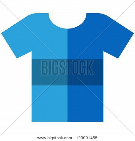 Vector Icon of a blue t-shirt with big stripe for men or women in flat style without outline. Pixel perfect. Business and office look. For shops and stores