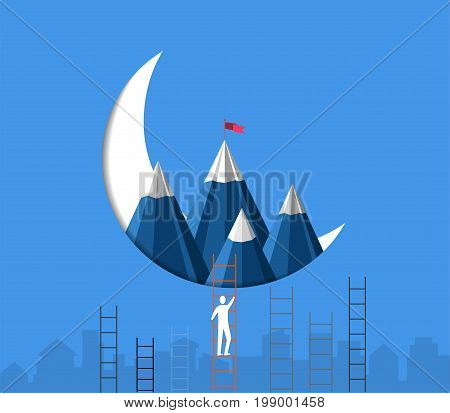 Leadership success concept, Businessman climbing stairs are racing to achieve the mountain with a flag on the top, Symbol of success, goal, achievements in business life (Paper art style)