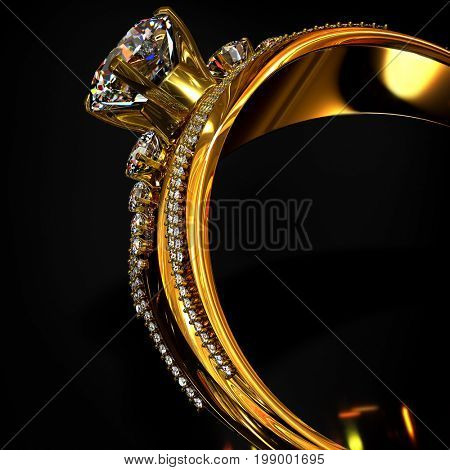 Engagement gold ring with brilliant gem. luxury jewellery bijouterie with gemstone diamond for wopman . Cropped of jewels on black background. 3D rendering