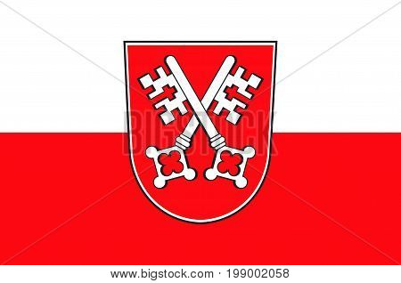 Flag of Regensburg is a city in Upper Palatinate in Bavaria of south-east Germany. Vector illustration