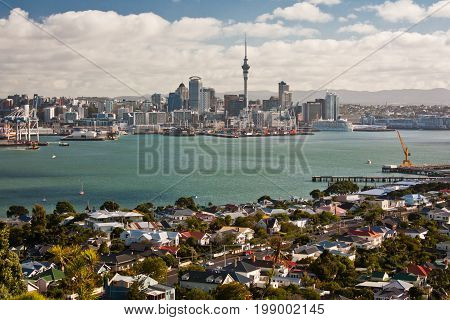 View of the Auckland city from Devonport area, North Island, New Zealand
