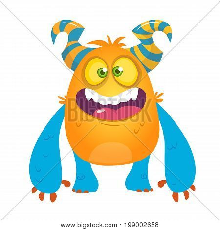Cute cartoon silly horned monster. Vector bigfoot character