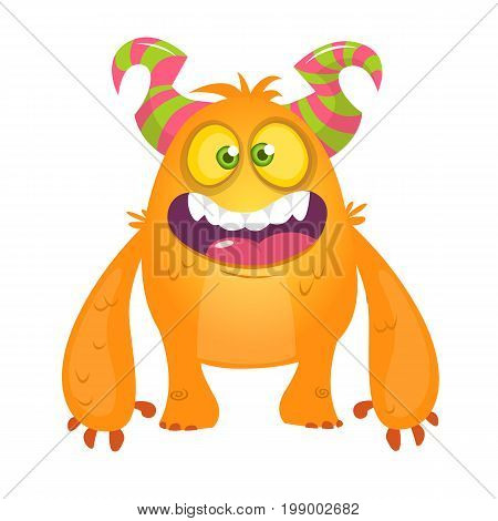 Cute cartoon silly orange horned monster. Vector bigfoot character