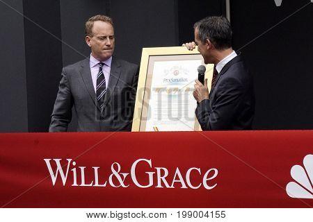 LOS ANGELES - AUG 2:  Bob Greenblatt, Eric Garcetti at the
