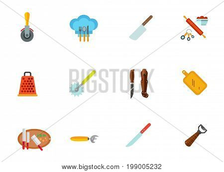 Kitchenware icon set. Pizza Cutter Cleaver Cooking Set Kitchen Grater Sharp Pukko Knife Knives On Cutting Board Can Opener Beer Opener