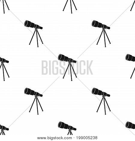 Telescope for schools. Device for astronomy. Device for inspection of the stars.School And Education single icon in black style vector symbol stock web illustration.