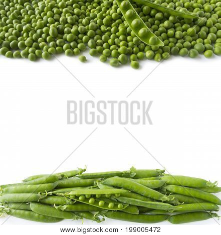 Green peas at border of image with copy space for text. Green peas on a white background.