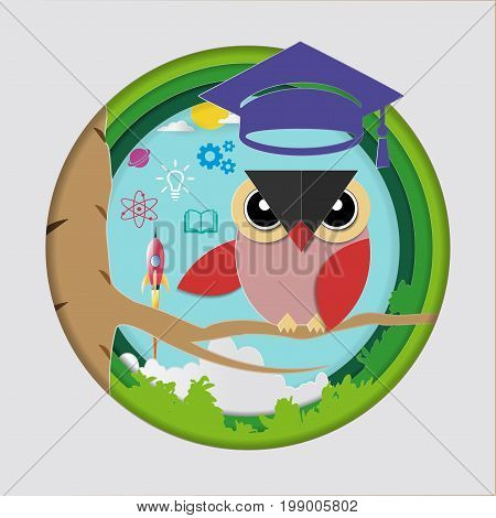 Education and learning concept, Owl teacher with graduation cap, Space rocket launch and knowledge icons, Symbol of wisdom and educational success, Vector illustration Paper art style.