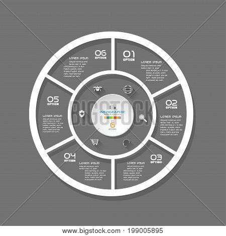 Vector simple infographic of round forms with segments cut from paper with white text and icons with long shadows on the dark gray background.