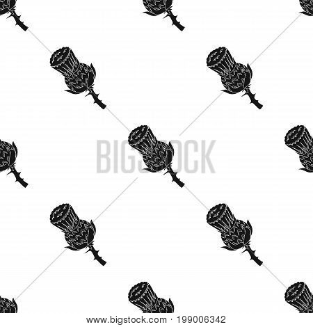 Heather icon in black design isolated on white background. Scotland country symbol stock vector illustration.