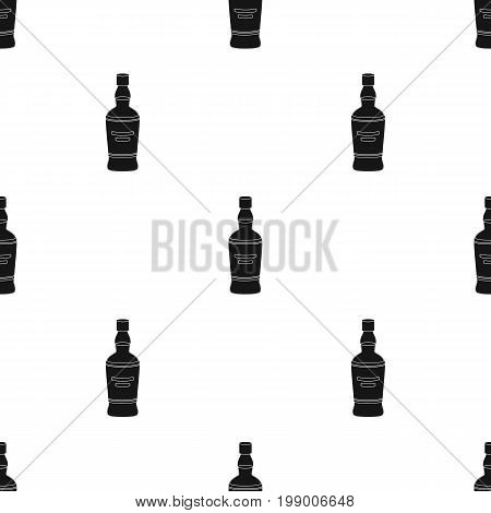 Bottle of scottish whiskey icon in black design isolated on white background. Scotland country symbol stock vector illustration.