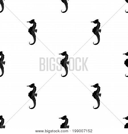 Seahorse icon in black design isolated on white background. Sea animals symbol stock vector illustration.