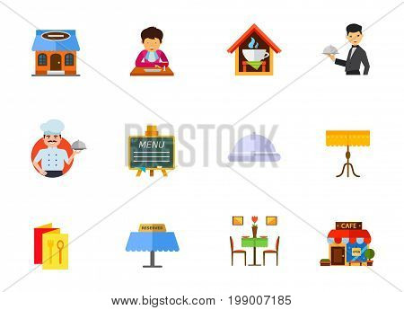 Restaurant icon set. Restaurant Building Gentleman With Napkin Eating Cafe Waiter Chef Menu On Blackboard Cloche Table And Tablecloth Menu Brochure Reserved Tablet Restaurant Interior Cafe Building