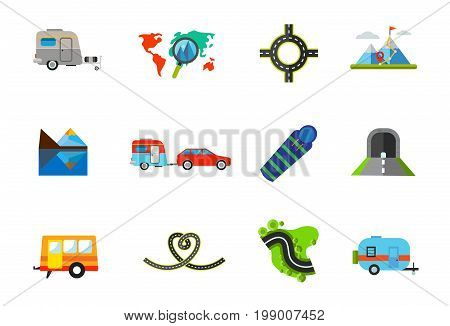 Route for travel icon set. Vacation Destination on Map Round Road Caravan Trailer Car Sleeping Bag Tunnel Trailer Road in Shape of Heart Road and Grass