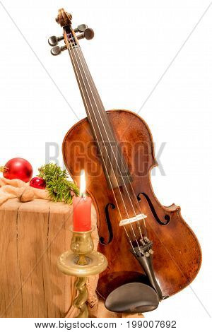 Fiddle to Christmas with candle and red  bauble
