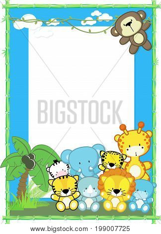 cute baby animals, jungle plants and bamboo frame, children's design