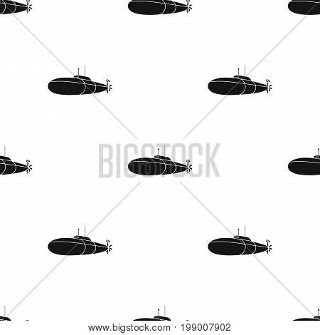 Black military submarine.Boat for swimming under water.Ship and water transport single icon in black style vector symbol stock web illustration.