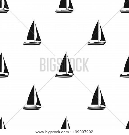 Sailboat for sailing.Boat to compete in sailing.Ship and water transport single icon in black style vector symbol stock web illustration.