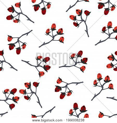 Berry Christmas Pattern, white background. Hand Drawn. Whimsical Modern Style. Winter/Merry Christmas Collection. Vector Illustration. For wallpapers, cards, backgrounds, textiles, covers, etc.