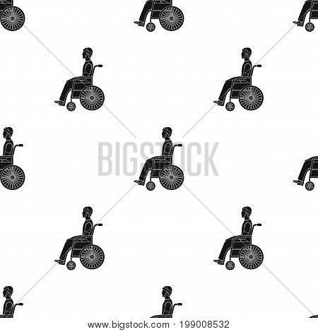 A man with a trauma in a wheelchair. Medicine single icon in black style vector symbol stock illustration .