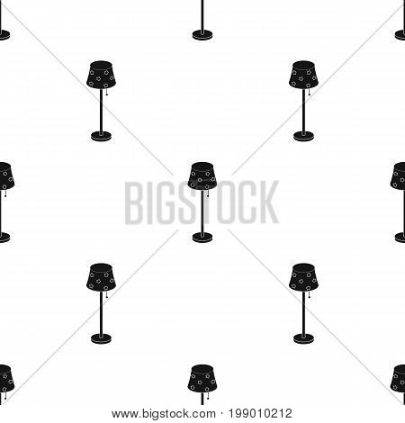 Floor lamp icon in black design isolated on white background. Sleep and rest symbol stock vector illustration.