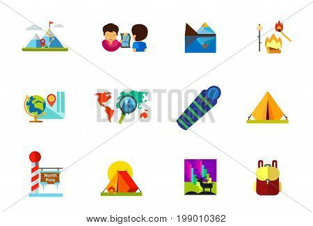Travelling icon set. Hiking Trail in Mountain Man Showing Map on Handkerchief Mountain Peak Campfire Globe and Map Vacation Destination on Map Sleeping Bag Camping Tent North Pole Tent Backpack