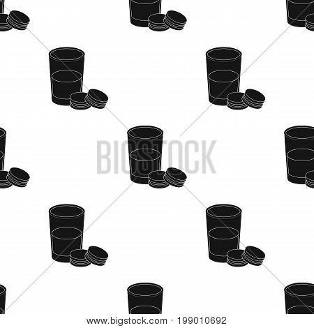 Glass of milk with cookies icon in black design isolated on white background. Sleep and rest symbol stock vector illustration.