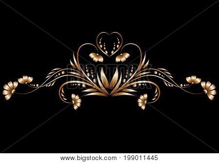 A beautiful design of a floral pattern made of gold metal foil on a black background close-up. Design elements for decorating banners, greetings or messages