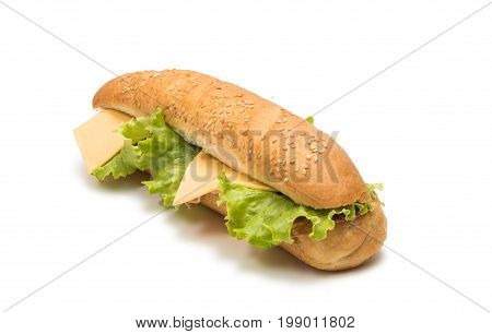 Sandwich baguette food isolated on white background
