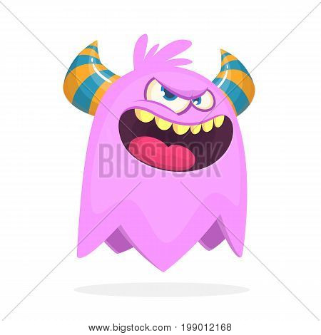Angry cartoon monster with horns. Angry monster expression. Halloween vector illustration