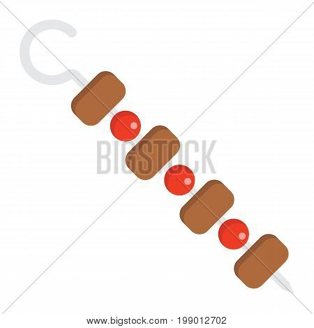 Shish kebab on skewers flat icon, food and drink, barbecue sign vector graphics, a colorful solid pattern on a white background, eps 10.