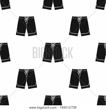 Swimming trunks icon in black design isolated on white background. Surfing symbol stock vector illustration.