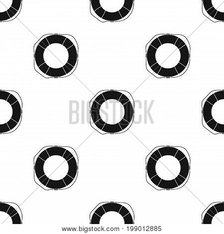 Lifebuoy icon in black design isolated on white background. Surfing symbol stock vector illustration.