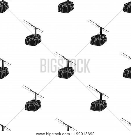 Cable car. Funicular for climbing in the mountains. Holiday winter transport.Transport single icon in black style vector symbol stock web illustration.