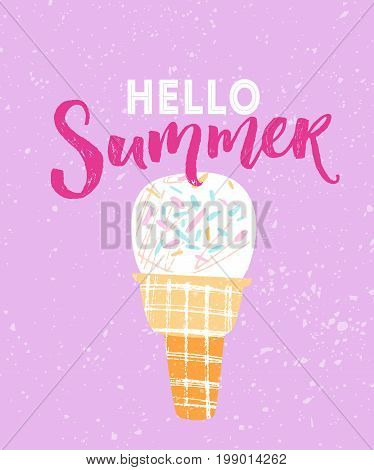 Hello summer text with hand drawn illustration of white icecream in waffle cone at pink background.