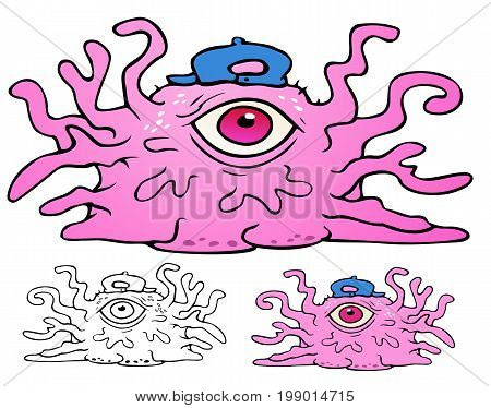 disgusting pink fleshy slime monster with gelatinous tentacles and a baseball cap.