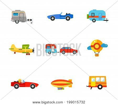 Transportation icon set. Caravan Cabriolet Biplane Caravan Travel Car Air Balloon Woman in Cabriolet Air Ship Trailer