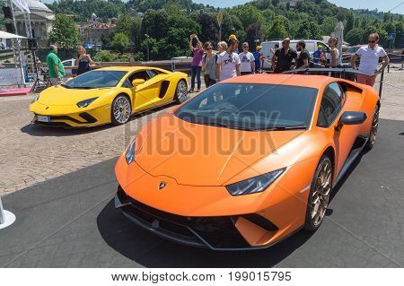 TURIN, ITALY - JUNE 10, 2017: Two Lamborghini cars on display at Turin open air car show