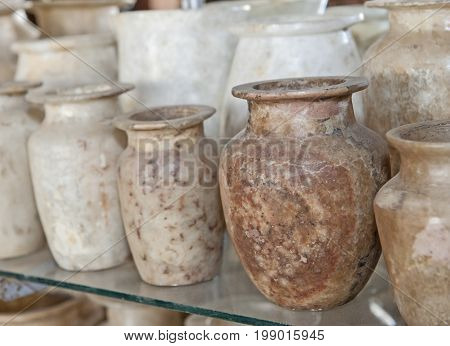 Row Of Alabaster Vases At An Egyptian Market