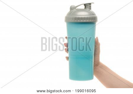 Blue sport shaker female hand on white background isolation