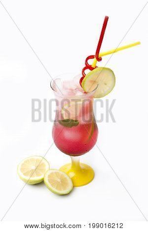 Alcohol cocktail drink isolated on white background, time to drink.