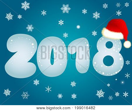 Blue background with white snowflakes with the inscription 2018 and a red cap