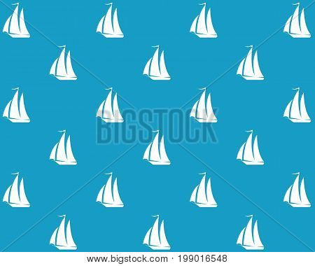 White silhouette of a sailboat on a blue background