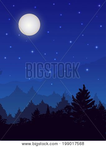 Vertical vector night landscape with spruce forest, sky with stars and full moon