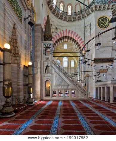 Marble floral golden ornate minbar (Platform) and niche Suleymaniye Mosque Istanbul Turkey
